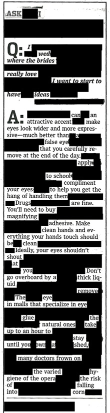 blackout advice column