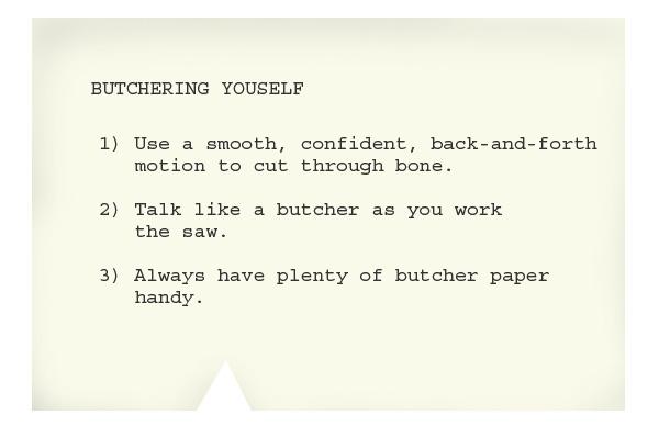 notecard: butchering yourself