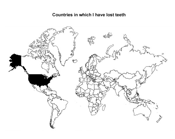 Map - Countries in Which I Have Lost Teeth