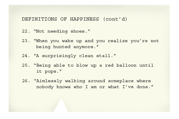 Notecard: Definitions of Happiness