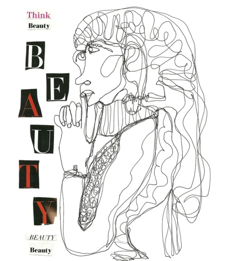 Collage poem & drawing - Think Beauty